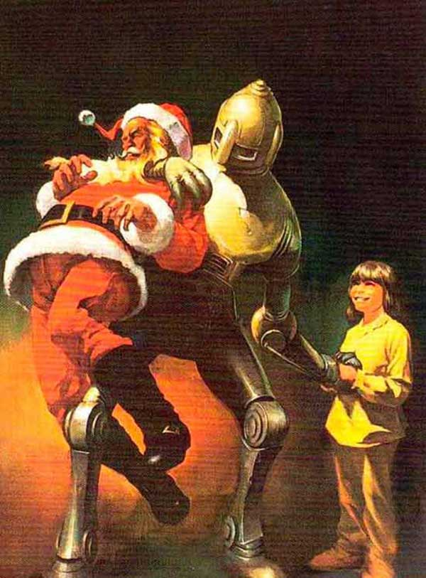 41 Funny Christmas Photos ~ Vintage Christmas poster with robot alien choking Santa, illustration