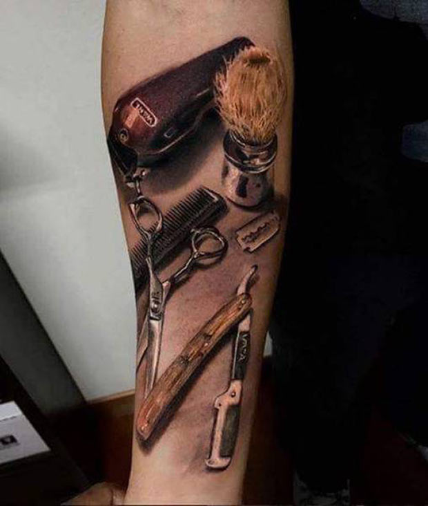 33 Funny Pics ~ cool tattoo of barber too forearm