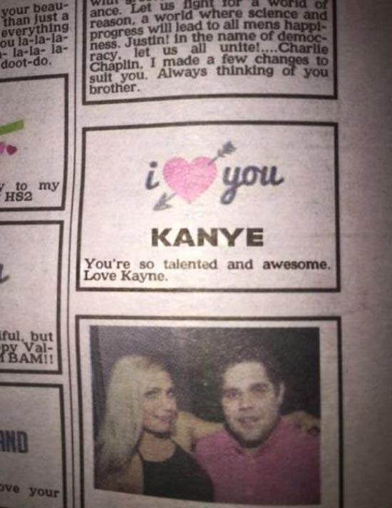 35 Funny Pics ~ funny classified ad, I love you Kanye