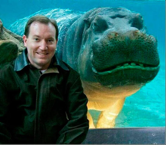 35 Funny Pics ~ smiling hippo photobomb