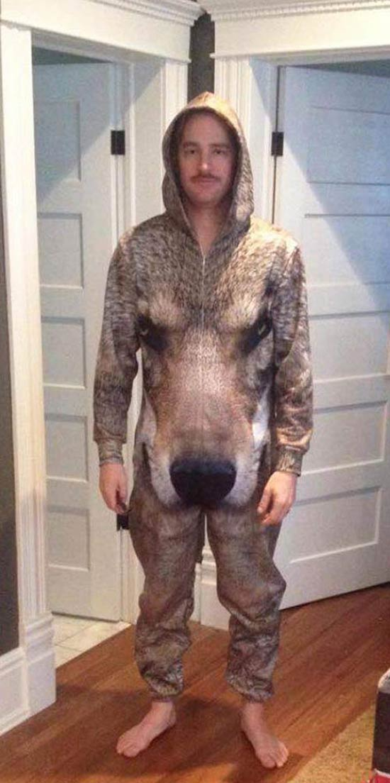 27 Funny Family Photos & Vintage Snaps ~ man in wolf print body suit