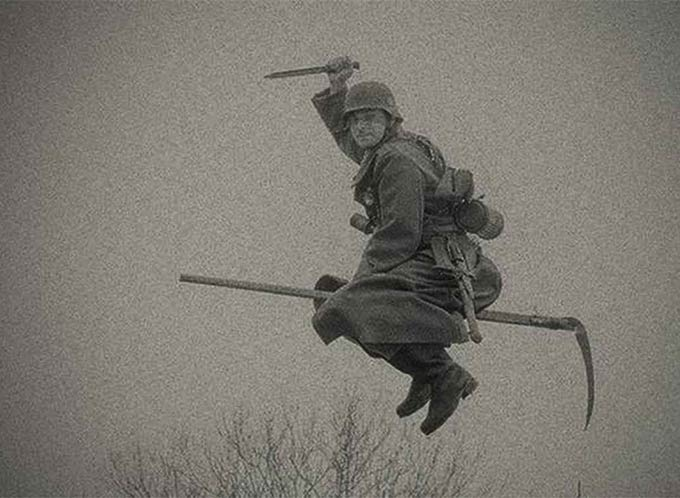 35 Funny Pics ~ vintage WW II Nazi soldier playing quidditch