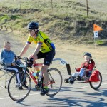 Brett and Bryce riding up Patterson Pass, Wheels for Meals 2011.