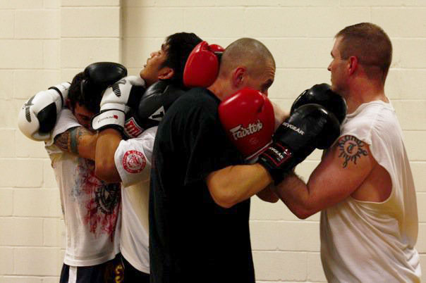 Naples Muay Thai Kickboxing students working the dangerous clinch and escapes from the clinch