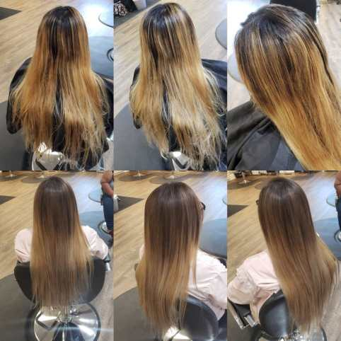 Before and After Photos of Orange Hair that has been toned.