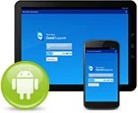 Tablette et appareil mobile avec application TeamViewer QuickSupport et icone Android