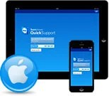 iPad et iPhone avec application TeamViewer QuickSupport et icone Apple
