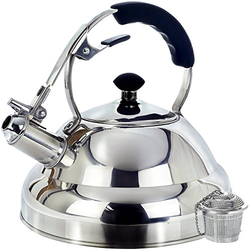 WILLOW & EVERETT SURGICAL WHISTLING 2.75-QUART STOVE TOP KETTLE TEAPOT