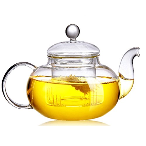 BEYLOR CLEAR GLASS TEAPOT HEAT RESISTANT TEAPOTS 1000 ML /33 OZ. WITH INFUSER