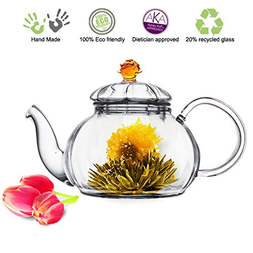TEA BEYOND TEA GLASS TEAPOT WITH INFUSER AMBER JULIET