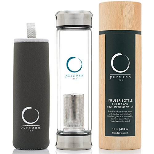 PURE ZEN TEA TUMBLER DOUBLE WALL GLASS TRAVEL LEAK-PROOF TEA BOTTLE