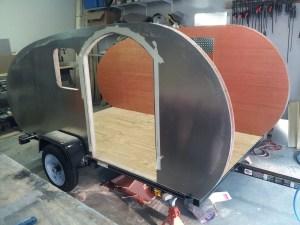 a teardrop trailer under construction