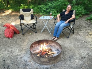 photo of campfire with human