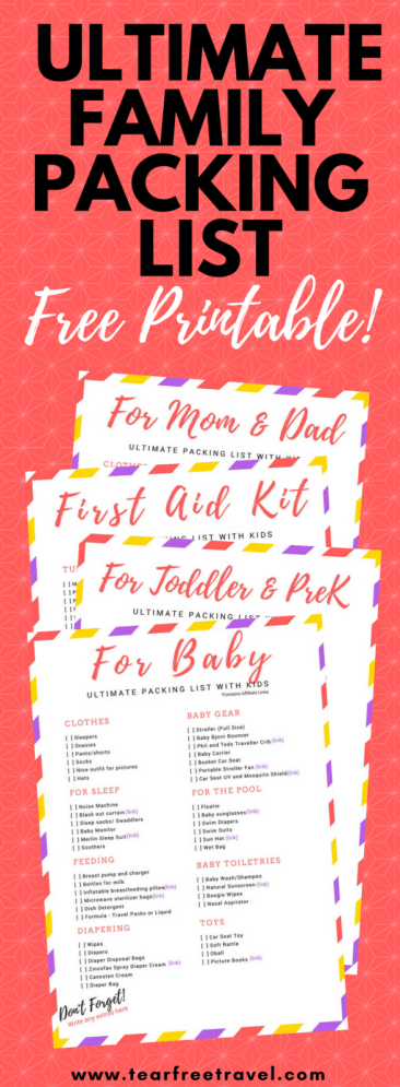 Looking for the ultimate family packing list?This packing list sample is a compilation of my list of toddler travel essentials, baby travel essentials, my travel first aid kit checklist, AND a list of packing essentials for moms and dads! #freeprintable #packinglist #familypackinglist #familypackingchecklist #travellingwithkidschecklist #toddlertravelitems #babytravelessentials #toddlertravelessentials #printabletravelpackinglist #packinglistsample #kidpackinglist #packinglistforvacation