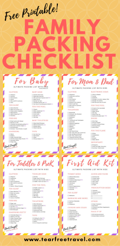 Free Printable Packing List Sample For Travel With Kids Tear Free Travel