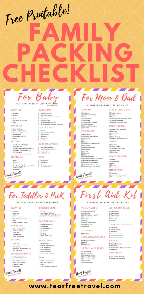 Free Printable Packing List Sample For Travel With Kids