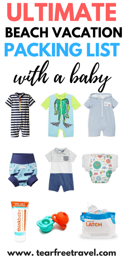 Looking for the ultimate baby travel list? I've got you covered with my packing for a baby vacation checklist! This list covers all the packing for baby travel to a beach destination. If you are taking your baby to the beach you will want these tips! This beach with baby COMPREHENSIVE list has got it al! I've also included a FREE pdf baby travel checklist. Pin for your next trip! #babytravellist #babytravelchecklist #babybeachtrip