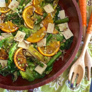 Roasted Orange, Asparagus and Cheddar Grilled Romaine Salad