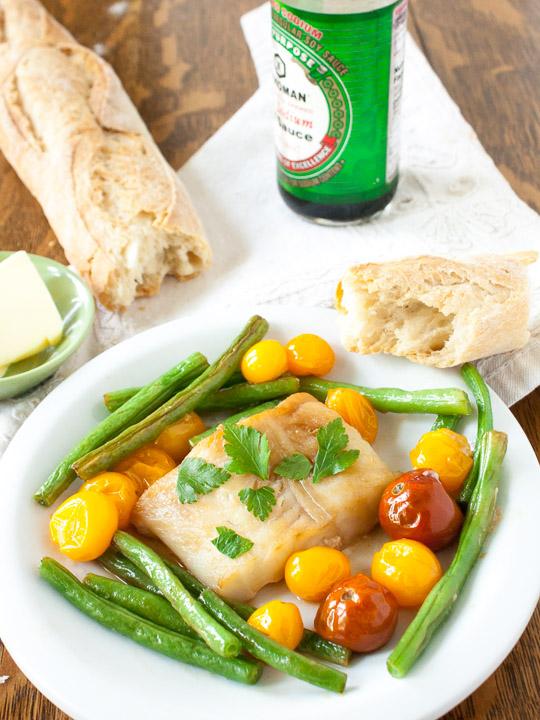 Butter Soy Sauce Sheet Pan Fish Dinner   @TspCurry