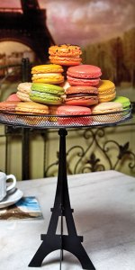 At Paris in a Cup, authentic French macarons are made fresh daily.
