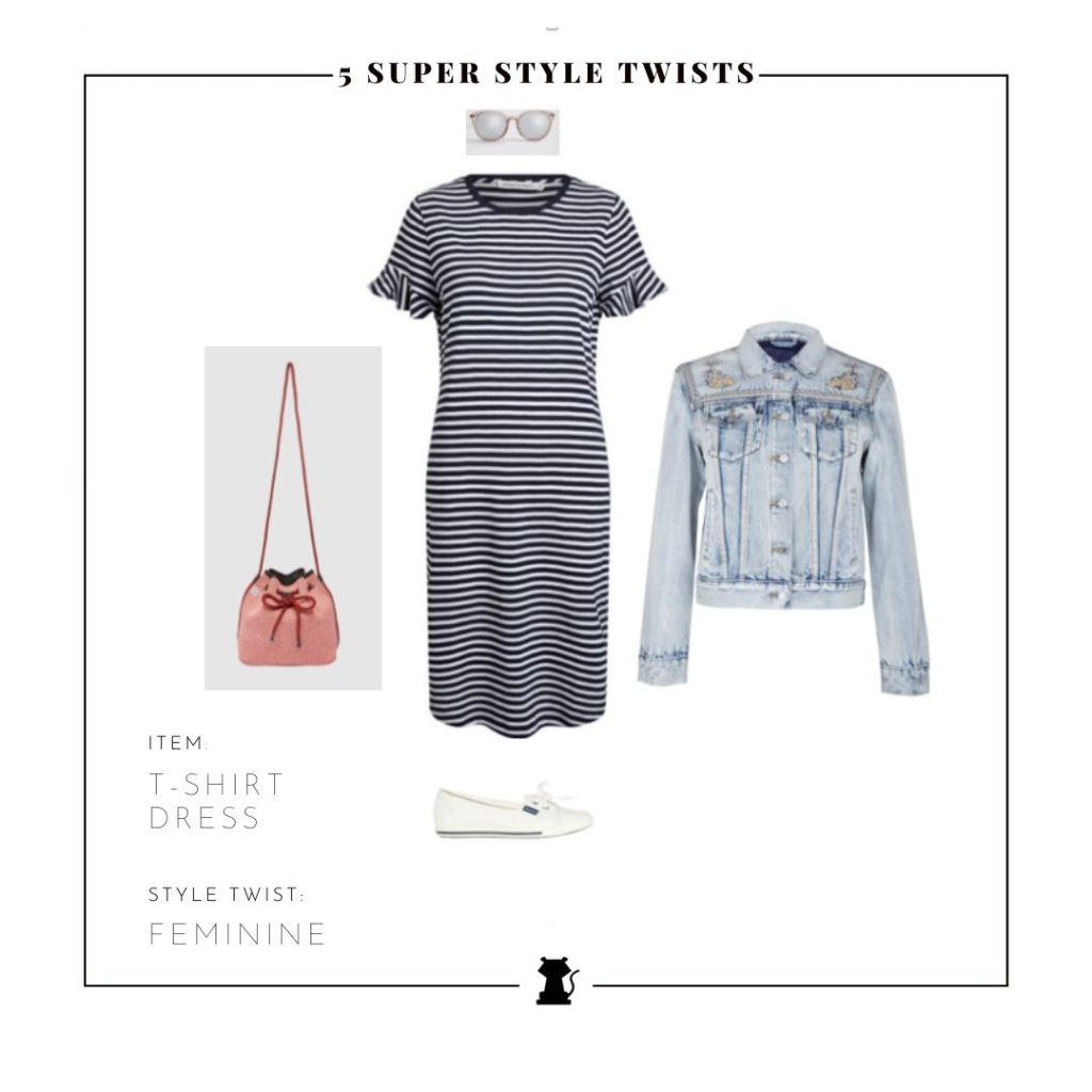 Style a T-Shirt Dress with Romantic Style