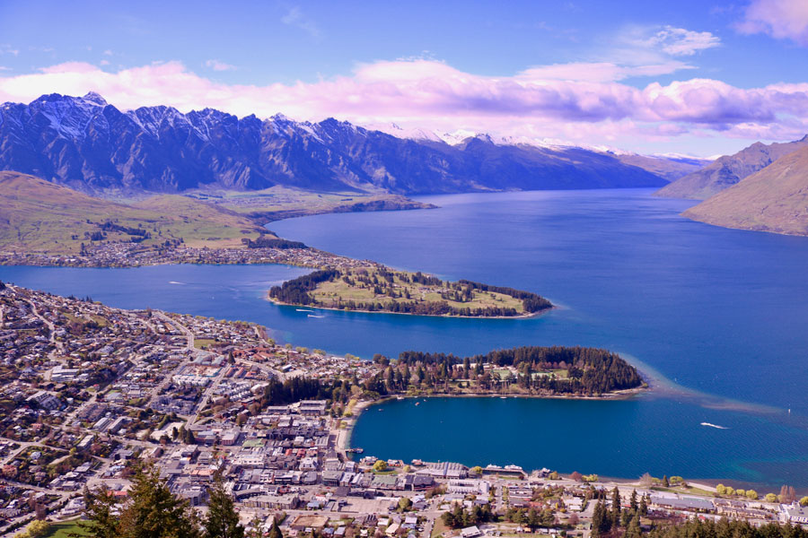 View from the Gondola of Queenstown and Lake Wakatipu