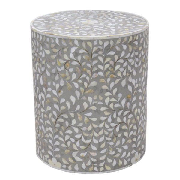 Intricate Bone Inlay Vine Side Table