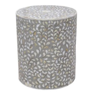 Intricate Bone Inlay Vine Side Table