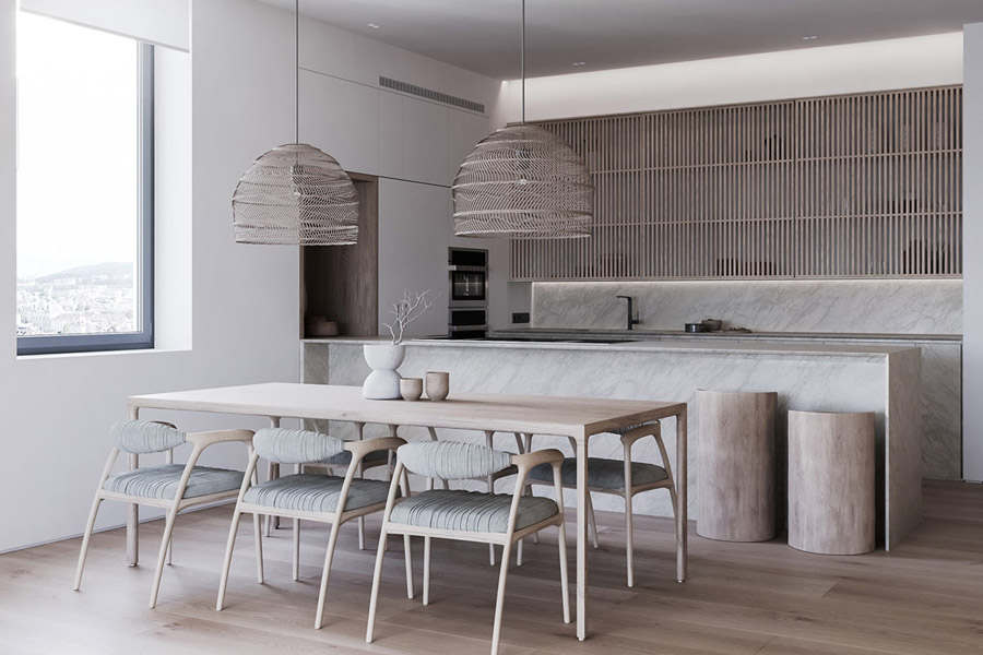 Dramatic Texture & Neutral Toned Kitchen