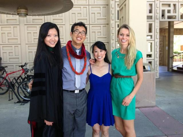 From L to R: Dr. Ji Son, Dr. Raymond Tsai, me, and Dr. Natalia Callaway at Stanford Med graduation ceremony 2013