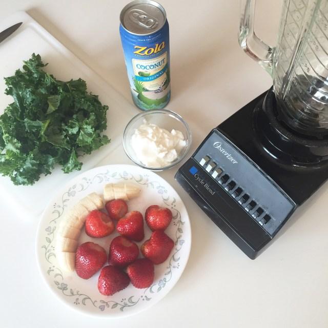 Strawberries, bananas, kale, and greek yogurt