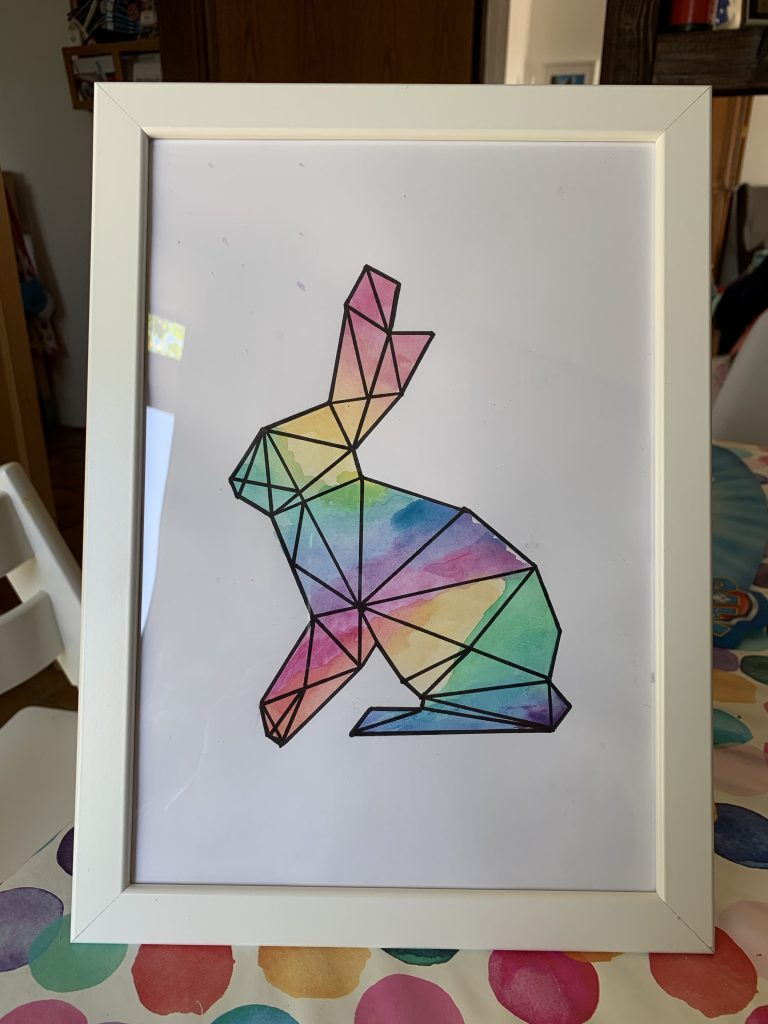 Easy graphic water colour bunny art