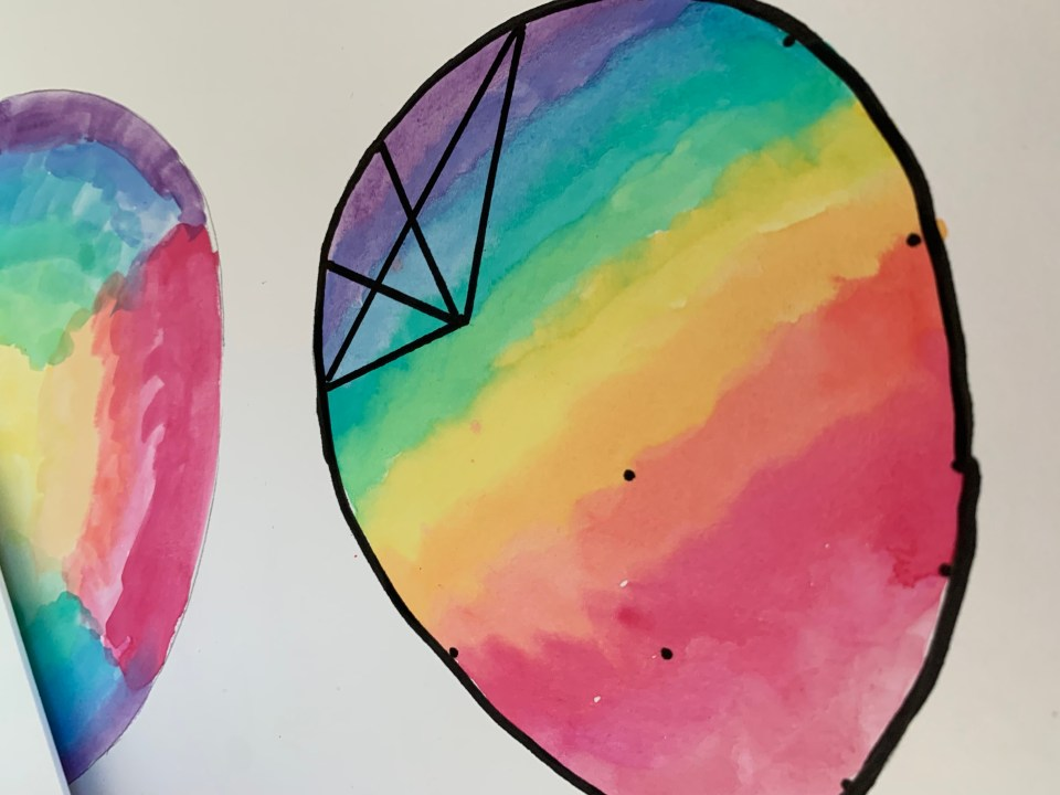 Making the graphic water colour Easter egg art