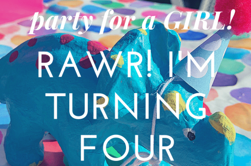 A dinosaur-themed birthday party for a girl: RAWR! I'm turning 4 with triceratops