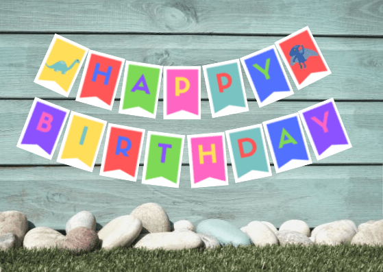 Dinosaur-themed Birthday party banner