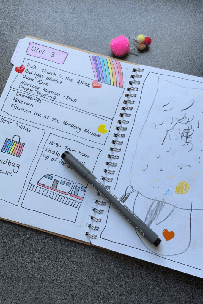 How to make a travel journal for your child, sample journal page with two pompom bookmarks