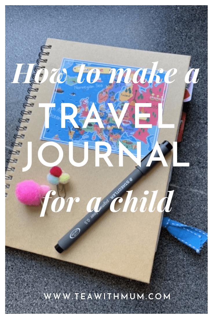 How to make a travel journal for a child: DIY instructions and inspiration: image of front page of journal, pen and paperclip bookmarks