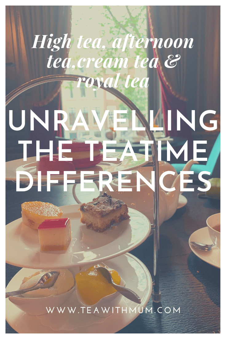 Unravelling the teatime differences: high tea, afternoon tea, cream tea, royal tea. With image of afternoon tea at the Handbag and Purse Museum in Amsterdam