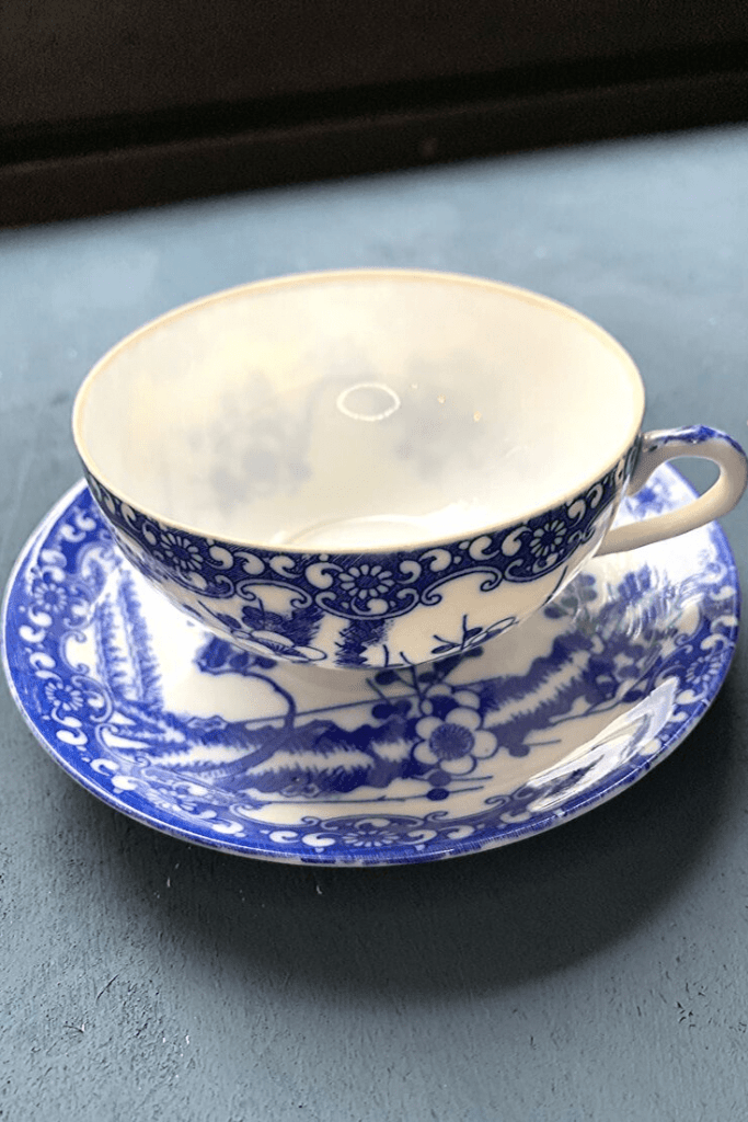Fine china blue and white cup and saucer, with blossom pattern, a flea market find at the Zöppkesmarkt 2019