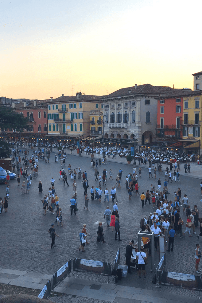 What to do in Verona with kids: Piazza Bra, viewed from the Arena di Verona; what to do in the north of Italy with a  small child