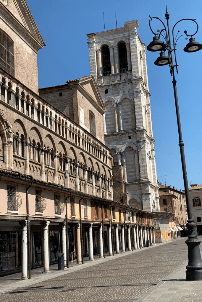 Side view of the Cathedral of Ferrara, which is currently closed for renovations.