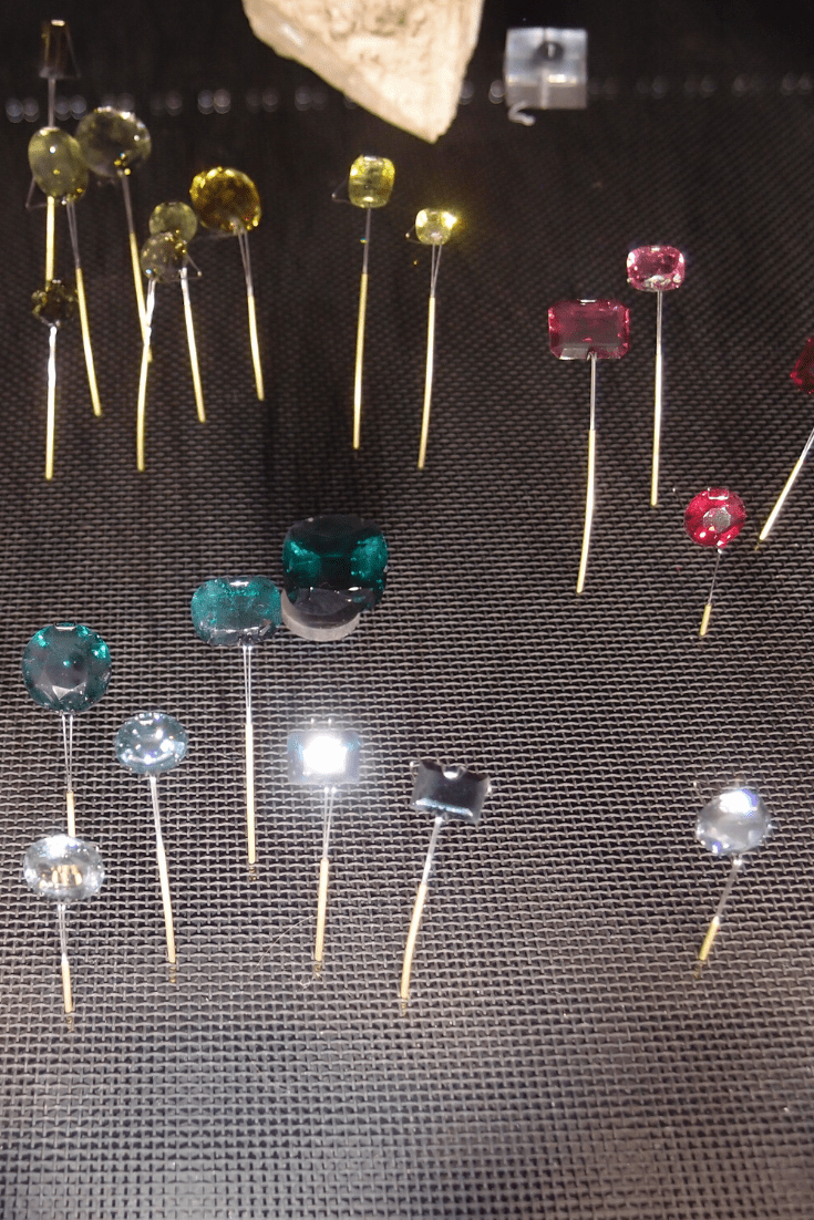 Gemstones are so hard to photograph well through glass. Image from the gemstone collection, Natural History Museum, London.