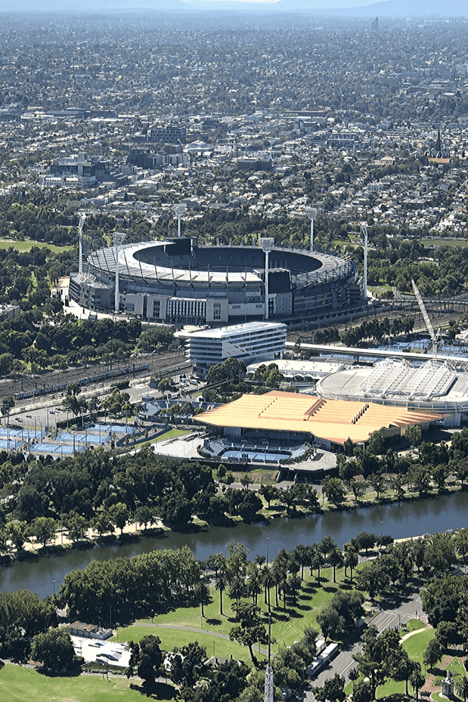 Number 9 of 13 fun things to do and see in Melbourne with kids: Visit the MCG - A great treat for any lover of sport. Photo taken from the Eureka Tower.