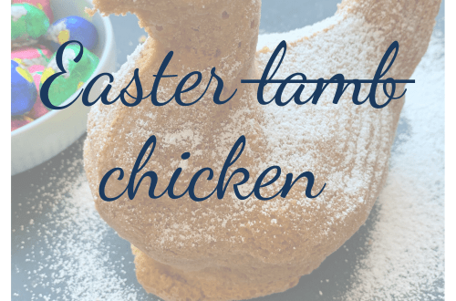 A traditional German Easter recipe - with a twist; Easter lamb or rather Easter chicken; with image of Easter chicken cake with icing sugar and a bowl of Easter eggs