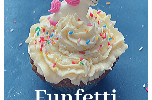 Putting the fun back in funfetti: Funfetti cupcakes recipe; funfetti cupcakes with white chocolate buttercream, sprinkles and sugar unicorn