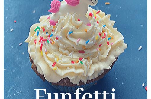 Putting the fun back in funfetti: Funfetti cupcakes recipe; funfetti cupcakes with white chocolate buttercream, sprinkles and sugar unicorn