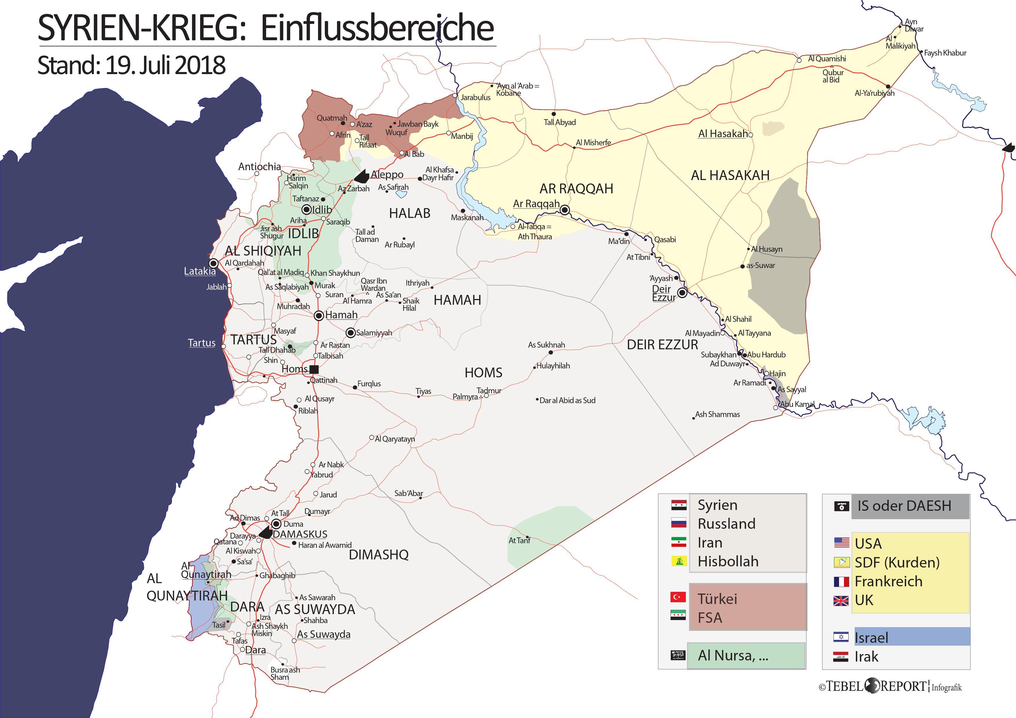 Syrien Karte Mit Städten.Syrien Krieg Einflussbereiche 19 Juli 2018 Mit Städten