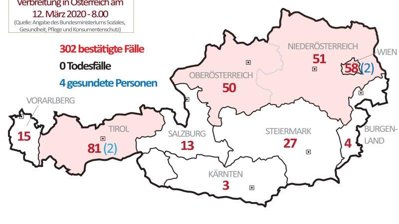 +++ Tebels Coronavirus-Karte von Österreich +++ aktueller Stand: 12. März, 8.00