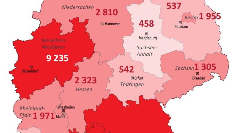 +++ Tebels Coronavirus-Karte von Deutschland +++ aktueller Stand: 27. März, 0.00