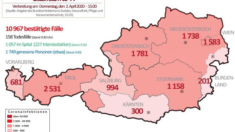 +++ Tebels Coronavirus-Karte von Österreich +++ aktueller Stand: 2. April, 15.00